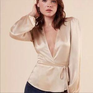 Reformation silk wrap plunge blouse